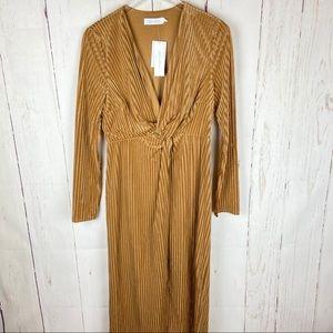 All in Favor Gold V-neck Velvet Striped Midi Dress